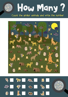 Counting game of nocturnal animals