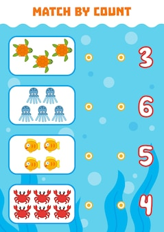 Counting game for preschool children count animals in the picture and choose the right answer
