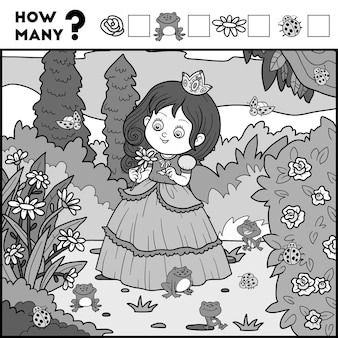 Counting game for preschool children educational a mathematical game princess and background