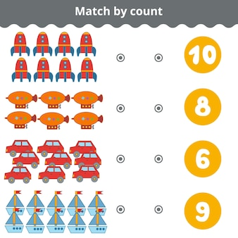 Counting game for preschool children educational a mathematical game transport objects