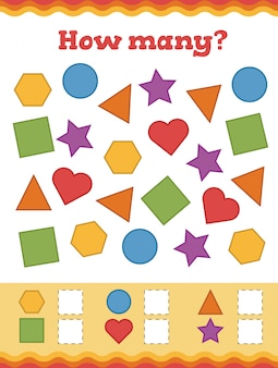 Counting game for preschool children. learn shapes and geometric figures.