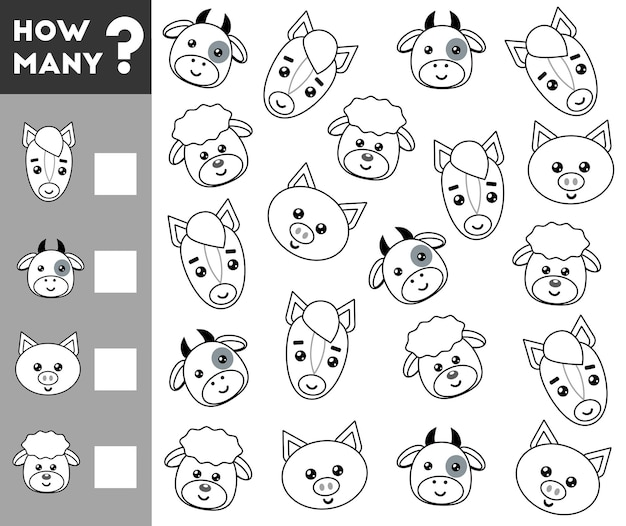 Counting game for preschool kid count how many farm animals and write the result