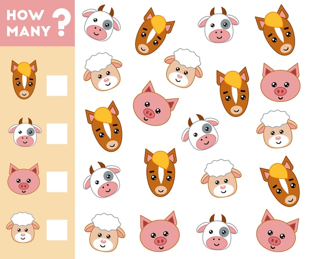 Counting game for preschool kids count how many farm animals and write the result