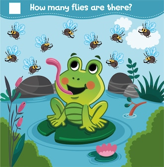 Counting game with cartoon frog and flies for children how many flies are there count the flies