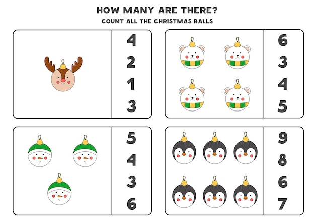 Counting game with christmas balls. educational worksheet.