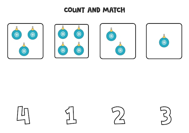 Counting game with christmas balls. math worksheet.
