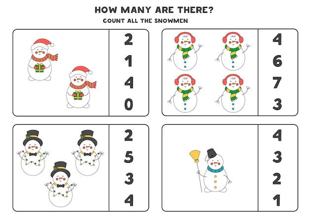 Counting game with christmas snowmen. educational worksheet.