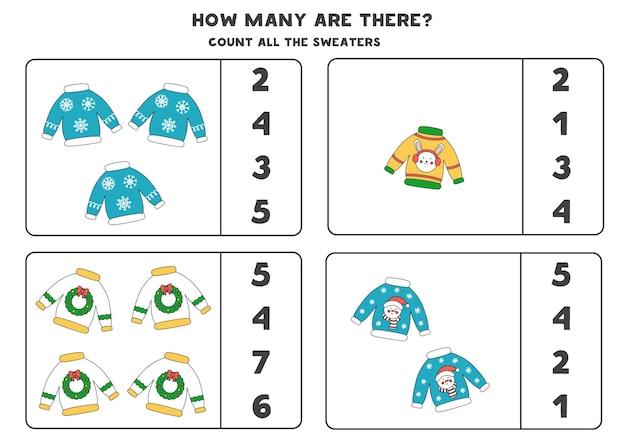 크리스마스 스웨터로 게임을 세기. 교육 워크시트.