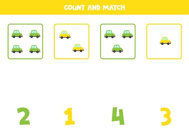귀여운 자동차와 함께 게임을 계산합니다. 수학 워크시트.