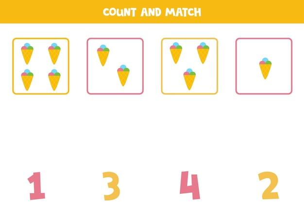 귀여운 아이스크림으로 게임을 세기. 수학 워크시트.