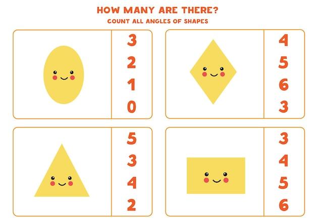 귀여운 카와이 기하학적 모양으로 게임을 계산합니다. 각도 수를 계산합니다.