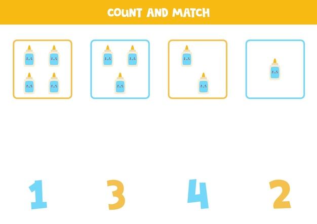 귀여운 카와이 접착제로 게임을 계산합니다. 수학 워크시트.