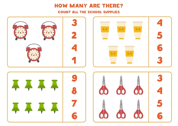 귀여운 카와이 학용품으로 게임을 세기. 수학 워크시트.