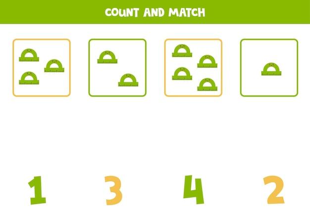 かわいい定規で数えるゲーム。数学のワークシート。