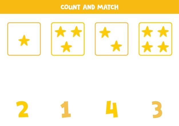 귀여운 바다 별과 함께 게임을 계산합니다. 수학 워크시트.