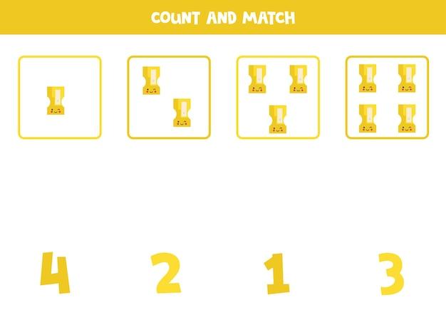 귀여운 숫돌로 게임을 세기. 수학 워크시트.