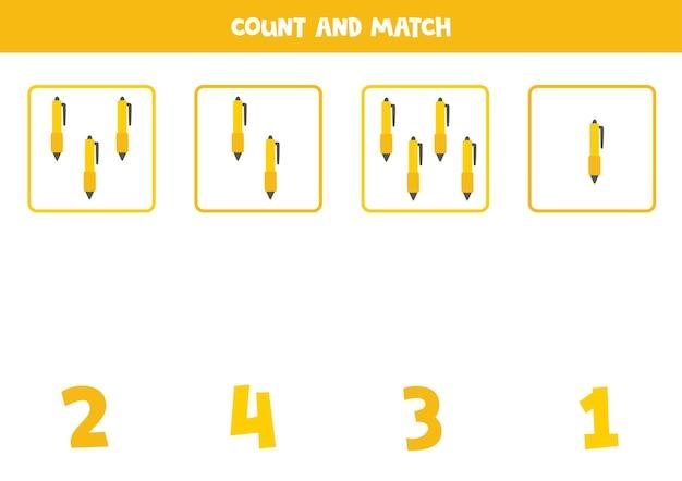 귀여운 펜으로 숫자 세기 게임. 수학 워크시트.