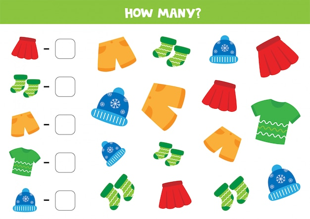Counting game with different clothes. count how many shirts, shorts, skirts, socks and caps are there.
