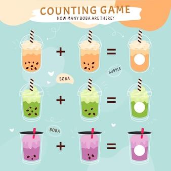 Conteggio del gioco con bicchieri per bevande