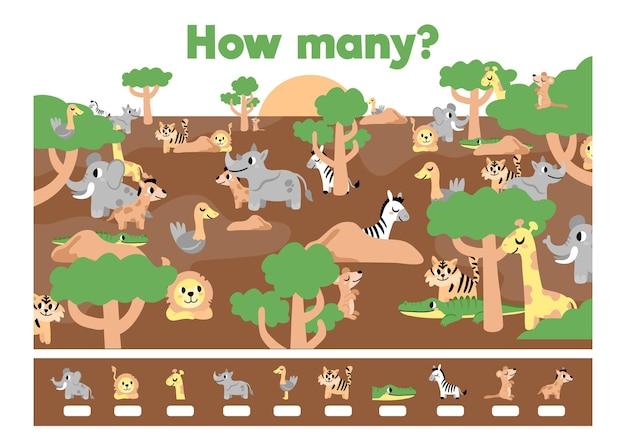 Conteggio del gioco con elementi della foresta