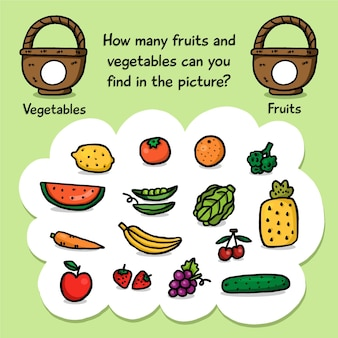 Counting game with fruits and baskets