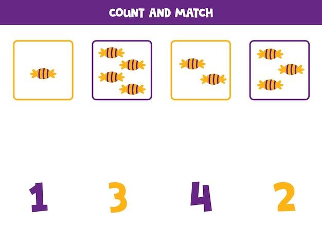 ハロウィンキャンディーを使ったカウントゲーム。数学のワークシート。