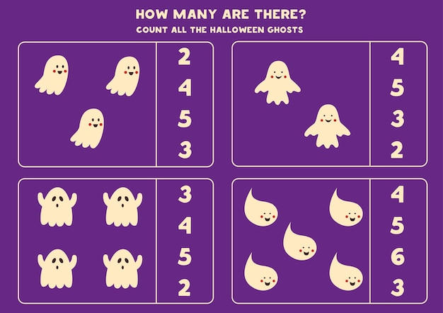 Counting game with halloween ghosts. math worksheet.