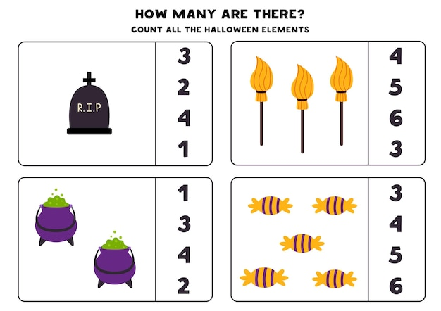 Counting game with halloween pictures. math worksheet.