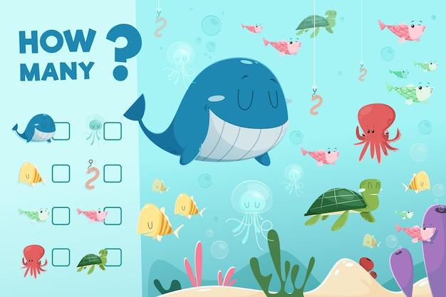 Conteggio del gioco con gli animali dell'oceano