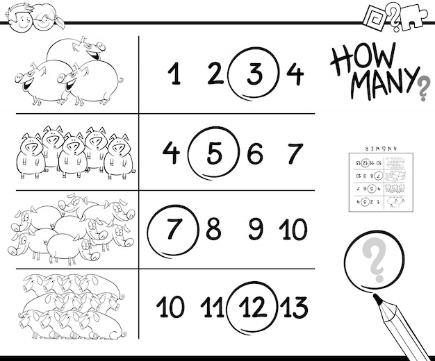 Counting game with pigs coloring page