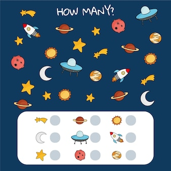 Counting game with space elements