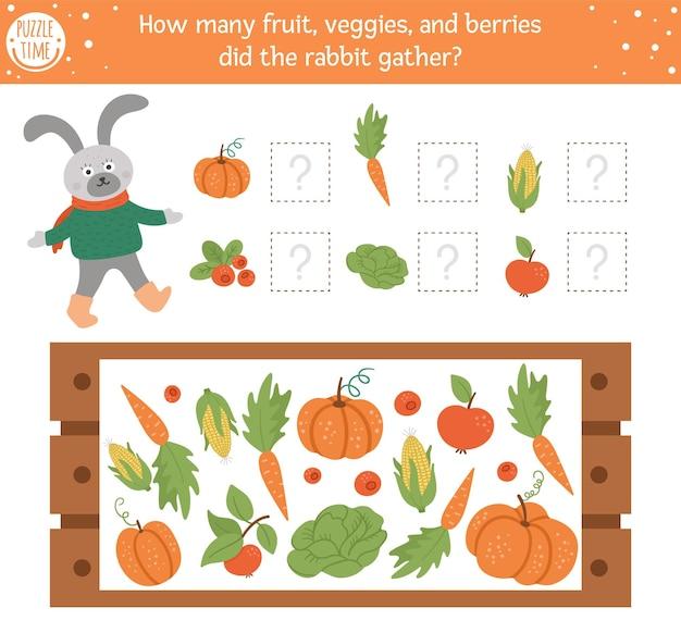 Подсчет игры с овощами, деревянным ящиком и кроликом. осенняя шпионская деятельность для дошкольников. рабочий лист по математике осеннего сезона. обучающая распечатка с милыми забавными элементами урожая для детей