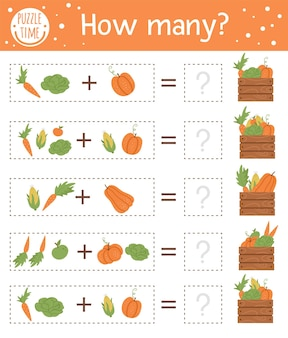 Counting game with vegetables and wooden case. autumn activity for preschool children. fall season math worksheet. educational printable with cute funny harvest elements for kids