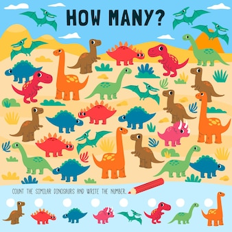 Counting game worksheet for children with dinosaurs
