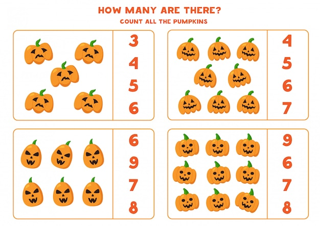 Counting halloween jack o lantern pumpkin. math game.