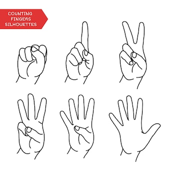 Counting hands showing different number of fingers