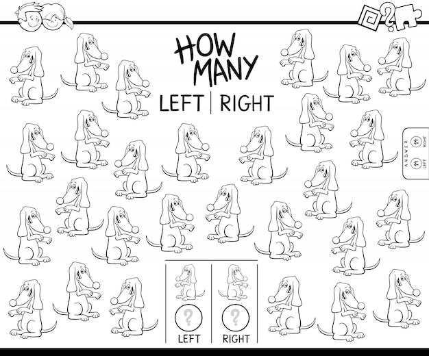 Подсчет левого и правого рисунка собаки цвета книги