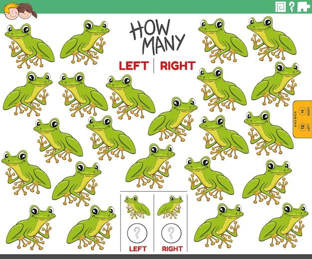 만화 나무 개구리 동물의 왼쪽 및 오른쪽 사진 계산