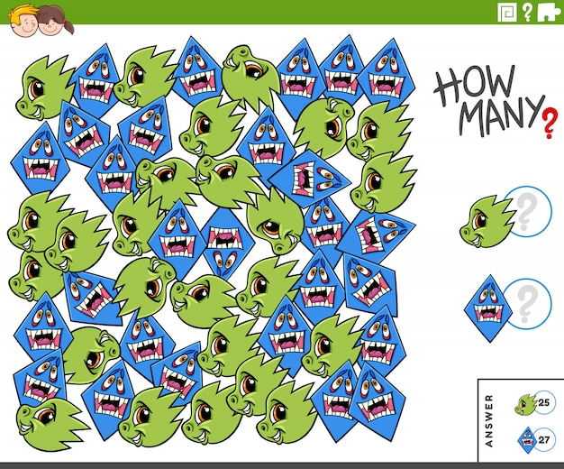 Counting monster characters educational task for kids