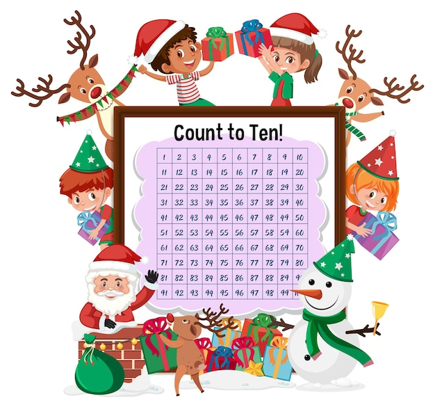 Counting number 1-100 board with many children in christmas theme