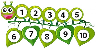 Counting number with green caterpillar