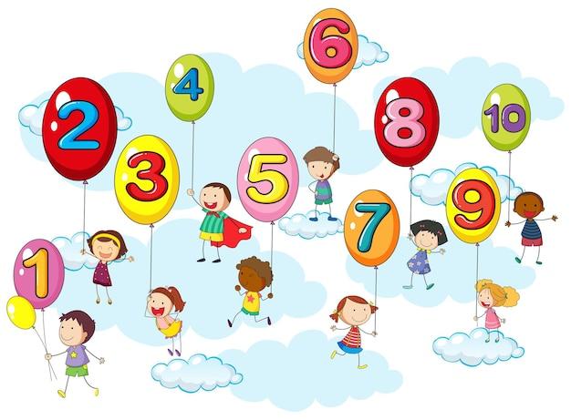 풍선에 아이들과 숫자 세기