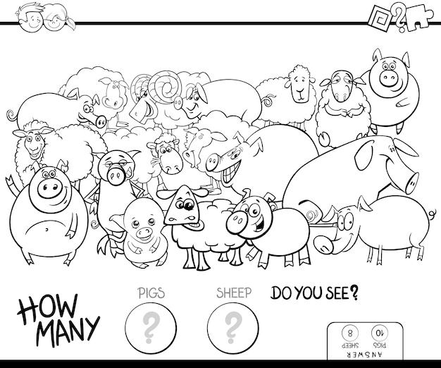 豚と羊のゲームカラーブックを数える Premiumベクター