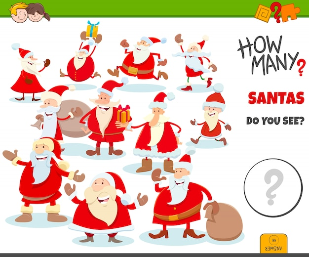Counting santa claus characters game for kids