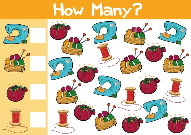 Counting sewing items game illustration for preschool kids in vector format