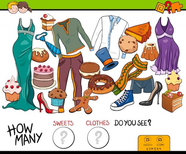 Counting sweets and clothes educational game