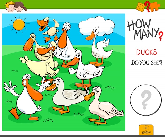 Counting task for children with ducks characters
