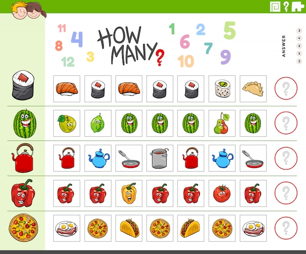Counting task for children with food objects