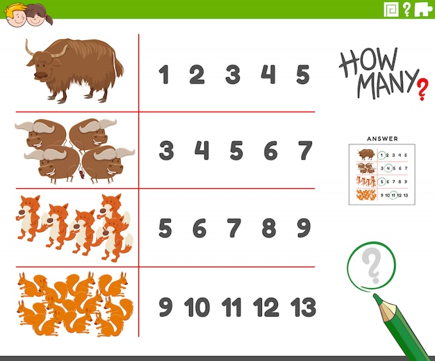 Counting task with cartoon animal characters