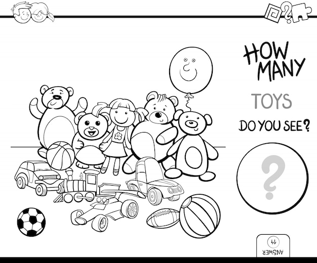 Counting toys educational game coloring book
